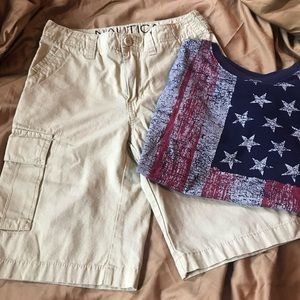 Boys size 12 NWOT Nautica shorts. And CP flag Tee.
